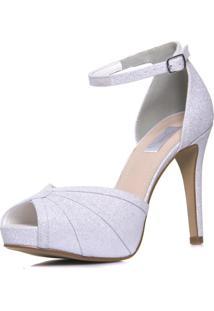 Sandália Durval Calçados Noiva Gliter Branco Salto Alto Plataforma- 86284 Branco - Tricae