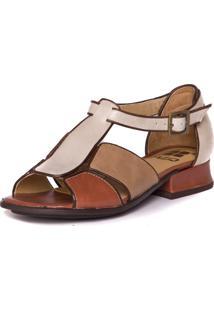 Sandalia Em Couro Salto Baixo - Nude / Taupe / Araca / Chocolate - 5701