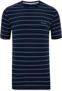 Camiseta Listrada Elastano Marinho Top