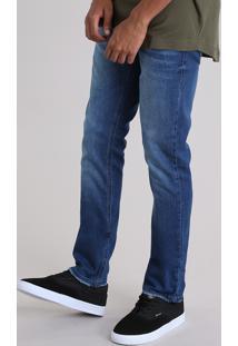 Calça Jeans Slim Com Algodão + Sustentável Azul Médio