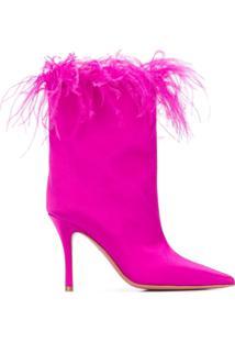 Amina Muaddi Ankle Boot Bico Fino - Sm000 Fuxia