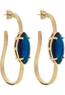 Brinco Banho De Ouro Longo Com Cristal - Feminino-Azul