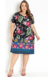 Vestido Floral Com Cintura Ajustável Plus Size