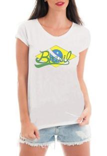 Camiseta Criativa Urbana De Renda Bandeira Do Brasil - Feminino-Branco