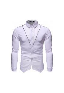 Camisa Masculina Gola Mandarim - Branca