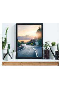 Quadro Decorativo Com Moldura Road Preto - 30X40Cm