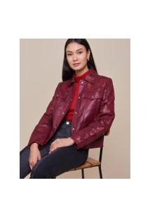 Amaro Feminino Jaqueta Leather Renda, Burgundy