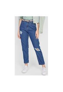 Calça Jeans Dzarm Reta Destroyed Azul