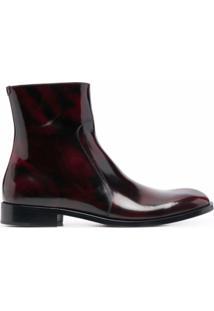 Maison Margiela Ankle Boot Com Acabamento De Brilho - Vermelho