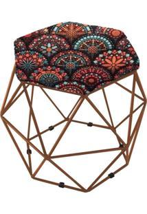 Puff Aramado Bronze Assento Hexagonal Suede Mandala Preto - Ds Móveis