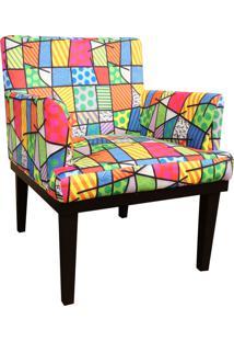 Poltrona Decorativa Vitória Para Sala E Recepção Estampado Colorido D11 - D'Rossi