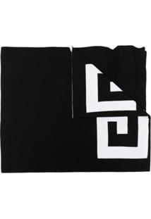 Givenchy Cachecol De Lã Com Detalhe De Logo - Preto