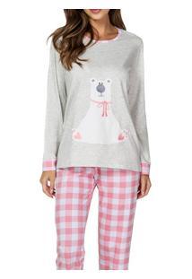 Pijama Longo Urso Lua Cheia (9348) Algodão