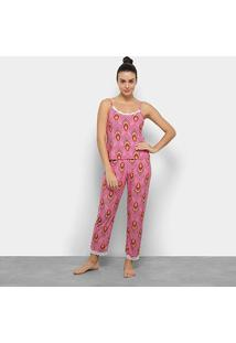 Conjunto De Pijama Flora Zuu Estampado Renda Feminino - Feminino-Pink