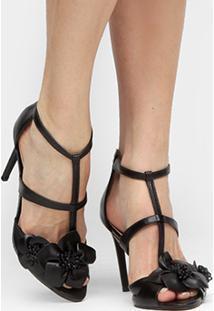 Sandália Couro Shoestock Salto Fino Flores - Feminino-Preto