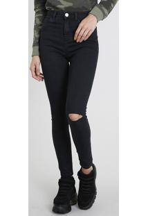 Calça Jeans Feminina Super Skinny Com Rasgos Preta