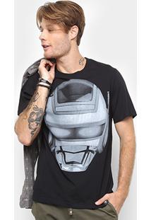 Camiseta Cavalera Estampa Robô Jaspion Masculina - Masculino-Preto