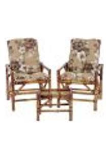 Conjunto Mesa E 2 Cadeiras De Bambu Cancun Para Área Edicula Jardim G13