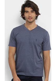Camiseta Aleatory Gola V Bordado Masculina - Masculino-Marinho