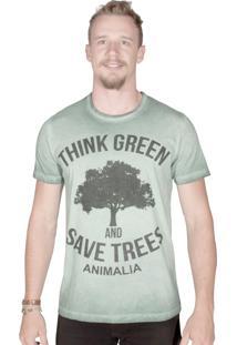 Camiseta Animalia Lavagem Diferenciada Verde