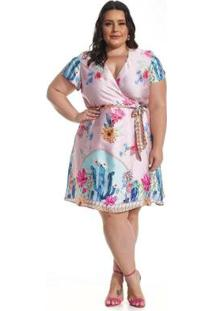 Vestido Lala Dubi Plus Size Pareô Barrado - Feminino-Rosa