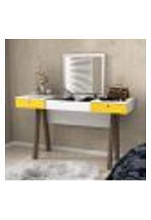 Penteadeira Escrivaninha 2 Gavetas E Divisórias Tecno Mobili - Branco/Amarelo
