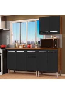 Cozinha Compacta Madesa Emilly Free Com Armário E Balcão - Rustic/Preto Marrom