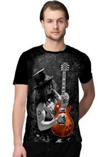 Camiseta Stompy Guitar Masculina - Masculino-Preto