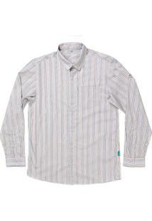 Camisa Jokenpô Adulto Em Tricoline Listrada Multicolorida Masculina - Masculino-Creme