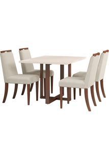 Conjunto De Mesa Para Sala De Jantar Com 4 Cadeiras Bélgica-Volttoni - Castanho / Off White