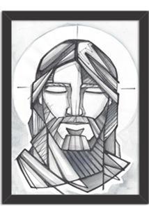 Quadro Decorativo Religião O Rosto Do Senhor Preto - Grande