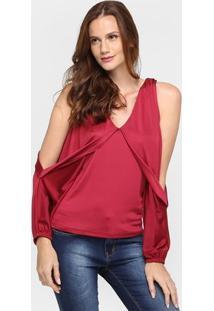 Blusa Iódice Jersey Recorte Ombro - Feminino-Vermelho