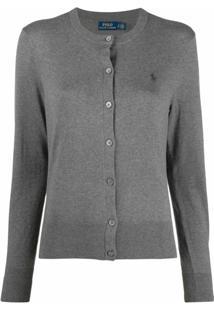 Polo Ralph Lauren Cardigan Com Botões E Logo Bordado - Cinza