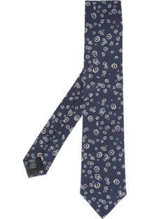 Gieves & Hawkes Gravata De Seda Com Bordado - Azul