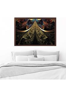 Quadro Love Decor Com Moldura Vitral Abstrato Madeira Escura Grande