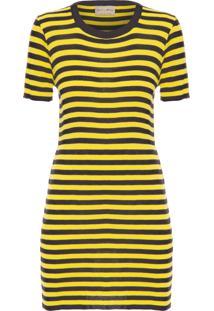 Vestido Meiris Listrado - Amarelo E Preto