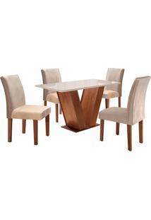 Conjunto De Mesa De Jantar Com 4 Cadeiras Classic Suede Ll Off White E Bege