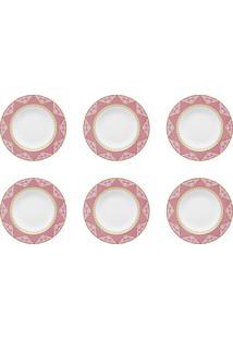 Conjunto 6 Pratos Fundos Oxford Sm14-9228 Macrame 23,5Cm Branco E Rosa