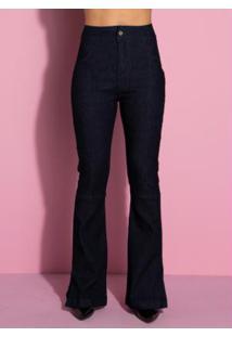 Calça Jeans Flare Com Fenda Jeans Escuro