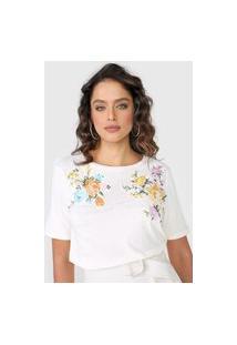 Camiseta Lança Perfume Bordada Off-White