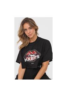 Camiseta Cropped Colcci Aplicações Preta