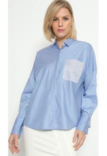 Camisa Listrada Com Bolso - Azul & Brancacalvin Klein