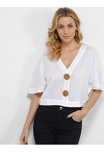 Blusa Cropped Morena Rosa Viscolinho Botões Rústicos Feminina - Feminino-Off White