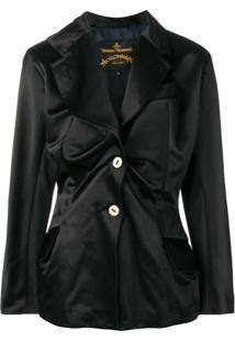 Vivienne Westwood Anglomania Asymmetric Gathered Blazer - Preto