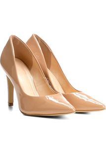 Scarpin Shoestock Salto Alto Verniz - Feminino-Nude