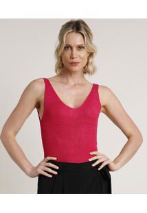 Regata Feminina Em Tricô Com Lurex Alça Média Decote V Pink