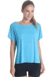 Blusa Líquido Gola Canoa Feminina - Feminino-Azul Claro
