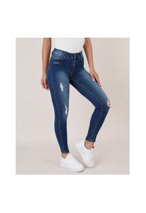 Calça Jeans Feminina Sawary Skinny Pull Up Com Rasgos Azul Escuro