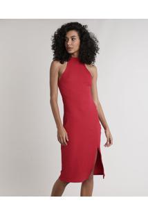 Vestido Feminino Midi Halter Neck Canelado Com Fenda Gola Alta Vermelho
