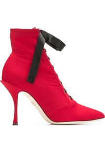 Dolce & Gabbana Ankle Boot De Couro Com Cadarço - Vermelho